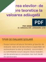 evaluarea elevilor - de la repere teoretice la valoarea adaugata