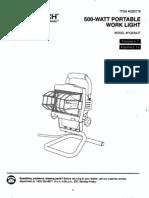 Utilitech PQS45UT 500-Watt Portable Work Light Manual