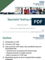 Katherine Birch Specialist Testing of Csf