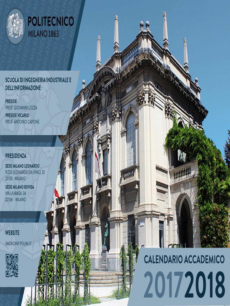 Calendario Politecnico Milano.Calendario 2017 18 Agg Mar 2018