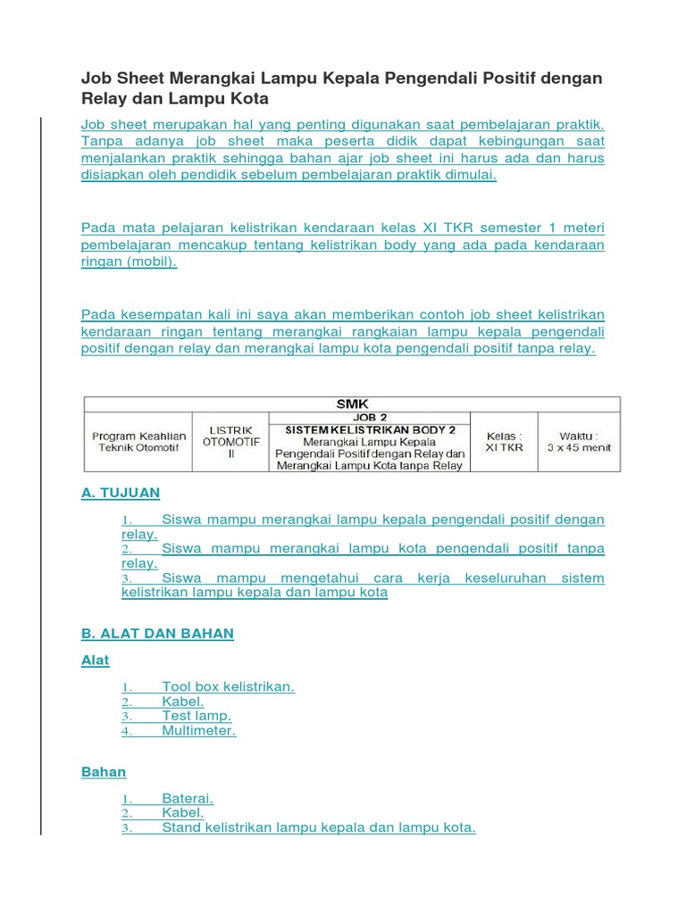 Job Sheet Merangkai Lampu Kepala Pengendali Positif Dengan Relay Dan