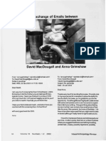 Exchange of Emails of David MacDougalle and Anna Grimshaw 2003