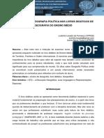OS DÍZERES DE GEOGRAFIA POLÍTICA NOS LIVROS DIDÁTICOS DE GEOGRAFIA DO ENSINO MÉDIO