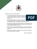 Comunicado P. Jaime Valenzuela