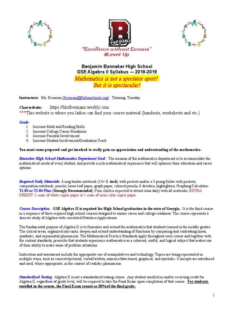 gse algebra ii syllabus 2018-2019 | Homework | Standardized