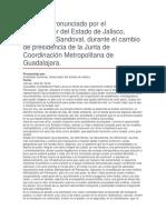 Cambio de Presidencia de La Junta de Coordinación Metropolitana de Guadalajara