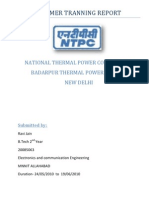 NTPC BADARPUR Summer Tranning report