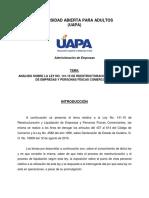 Analisis Ley No. 141-15