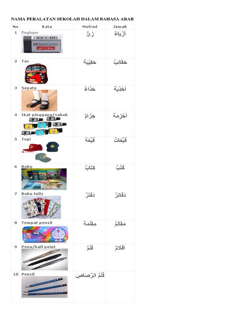 Nama Peralatan Sekolah Dalam Bahasa Arab