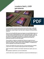 Guía de Procesadores Intel y AMD Modelos y Equivalencias