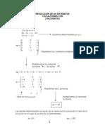 Resolución de un sistema de 3 ecuaciones con 3 incógnitas