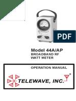 Manual de uso del Vatimetro Analogico Telewave 44A