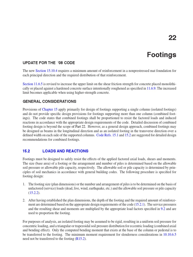 PCA Notes on ACI 318-08 - Chapter 22 - Footings | Deep