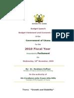 Ghana 2010 Budget Speech