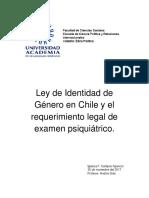 Ley de Identidad de Género en Chile y El Requerimiento Legal Del Exámen Psiquiátrico