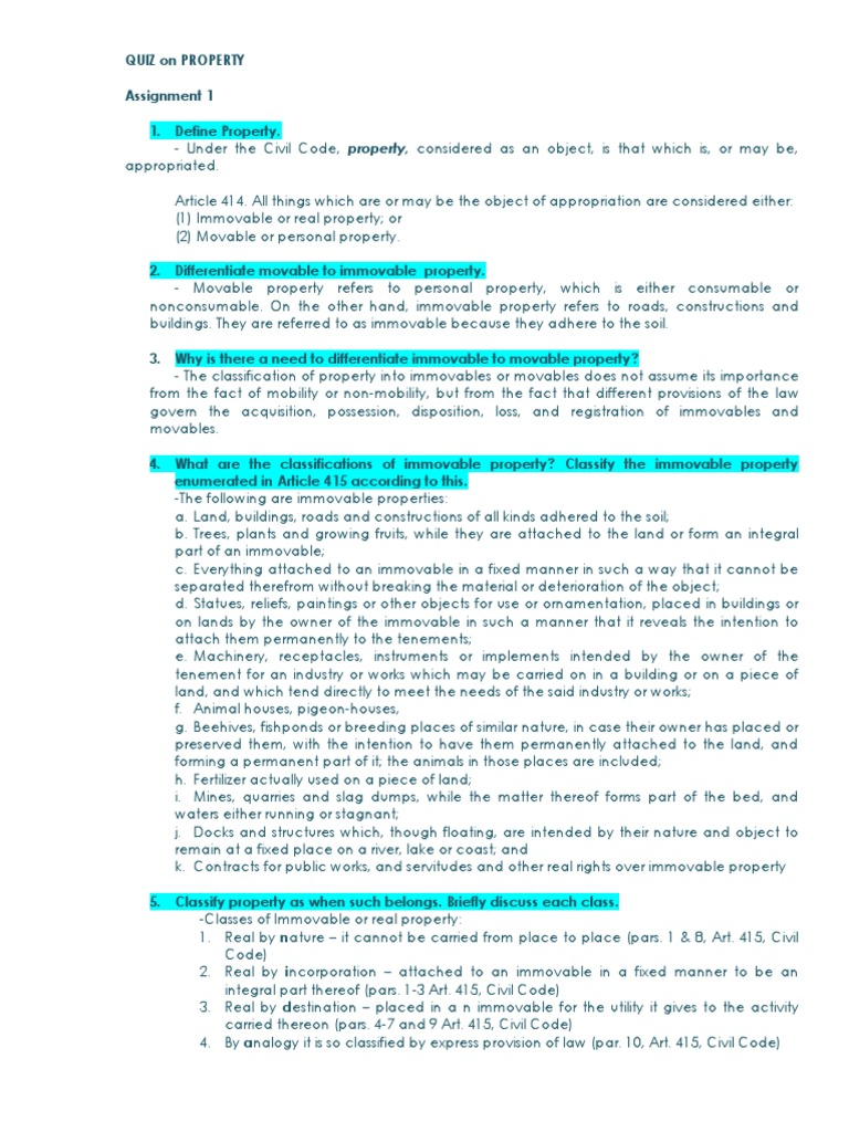 Assignment Property docx | Property | Judgment (Law)