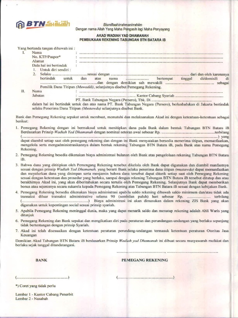 337321 6 3 Formulir Pembukaan Rekening Btn Syariah Pdf