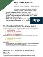 Pedoman Pembentukan Bawaslu Kabupaten Kota 2018