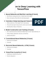 Tensor Flow Syllabus