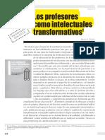 GIROUX Henry, Los Profesores Como Intelectuales Transformativos