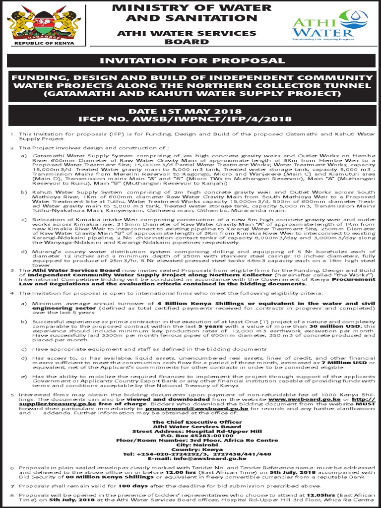 Advert Gatamathi And Kahuti Water Supply Project 28th April 2018