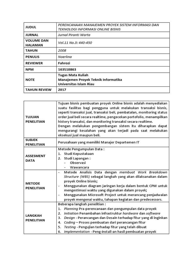 01 Review Jurnal 1 Sistem Informasi Dan Teknologi Informasi Online