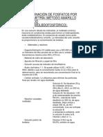 Planificacion DETERMINACIÓN DE FOSFATOS POR COLORIMETRÍA (MÉTODO AMARILLO DEL ÁCIDO VANADOMOLBDOFOSFÓRICO).