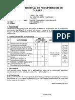 Plan Institucional de Recuperacion de Clases 2015