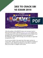 Strategies to Crack Sbi Po Mains Exam 2018