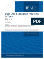 Dual-Credit Education Programs in Texas
