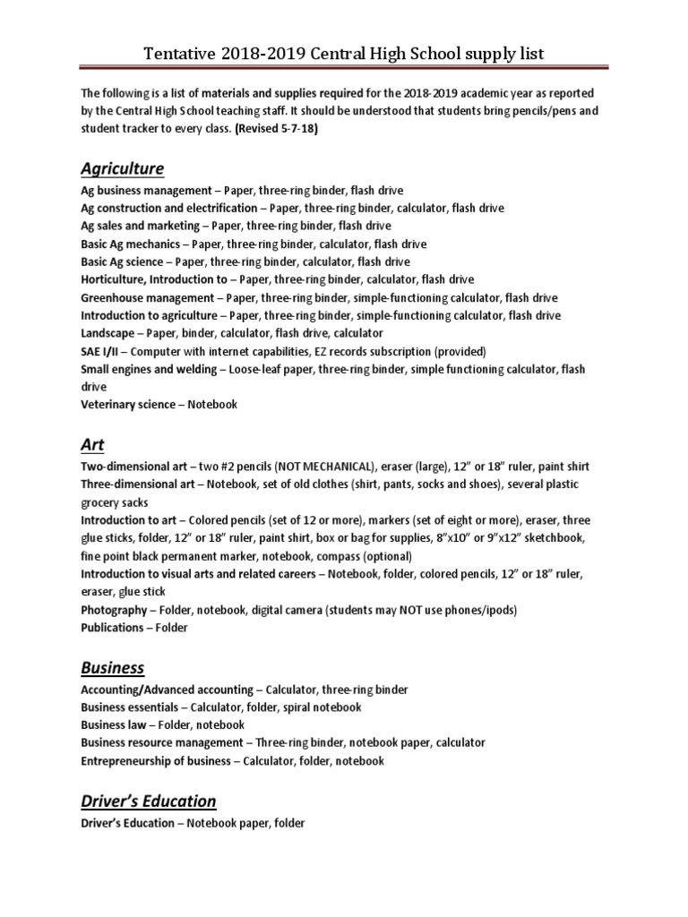 Central High School supply list | Notebook