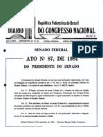 Atos 87 e 88 de 1984, Senado Federal