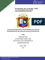 Calidad Bactereologica y Fisicoquimica de Agua de SeiCCCs Manateiales Del Distrito de Santa Rosa Melgar