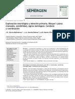 Exploración neurológica y atención primaria. Bloque I pares craneales, sensibilidad, signos meníngeos. Cerebelo y coordinación.pdf
