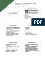 P-sensitivity Specificity and Predictive Value 2012