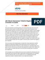All About Interstate Vehicle Registration Transfer in India