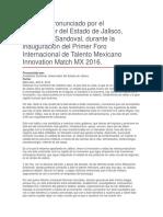 Primer Foro Internacional de Talento Mexicano Innovation Match MX 2016