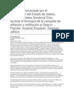 Arranque de La Campaña de Afiliación y Reafiliación Al Seguro Popular. Hospital Zoquipan