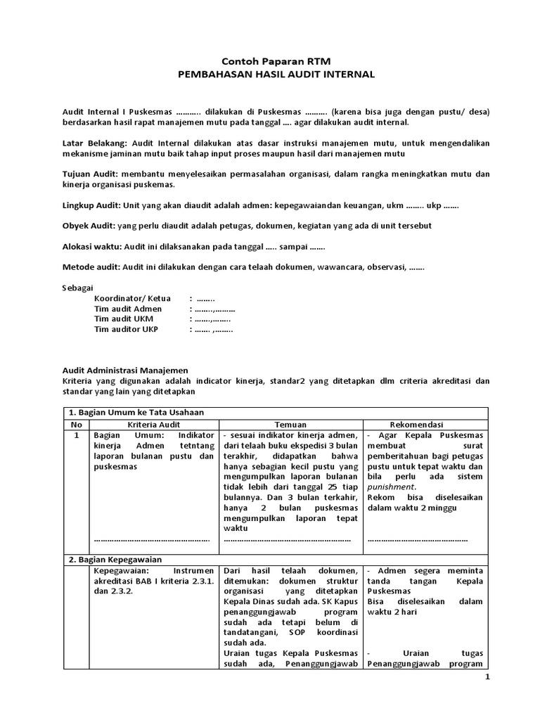 Contoh Isi Paparan Rtm Audit Internal