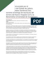 Entrega de Escrituras Del Terreno Del Nuevo Hospital Civil a La Benemérita Universidad de Guadalajara