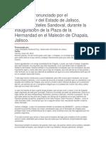 Inauguración de La Plaza de La Hermandad en El Malecón de Chapala