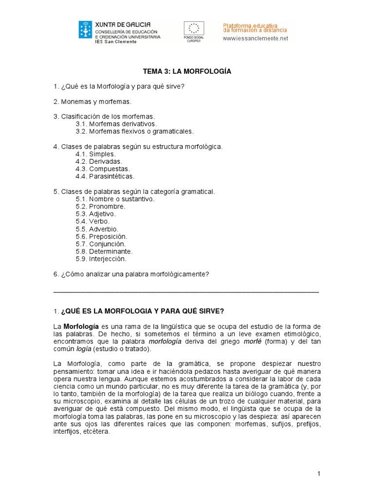 Morfología Fonemas Morfemas Y Lexemas Pdf