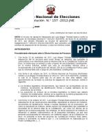Resolución N° 0157-2012-JNE