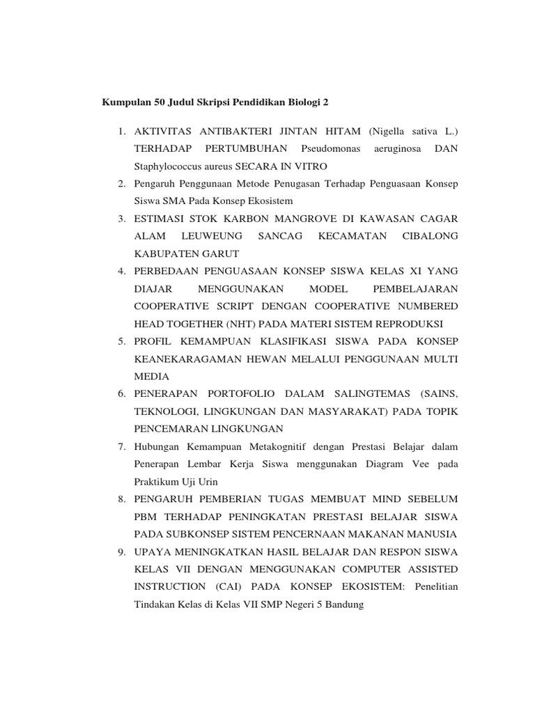 Kumpulan 50 Judul Skripsi Pendidikan Biologi 2