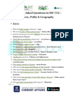 Previously Asked Questions in SSC CGL History Geography Polity 1