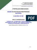 Versión Final Bases Invitacion is-402-PA-2011381 Servicio Cal y Cert Medidores de Flujo Coriolis