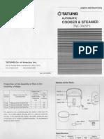 Tatung Rice Cooker Manual