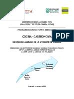 CEFOP Perú-Informe Del Análisis de La Situación de Trabajo Cocina-Gastronomía