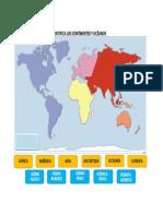 Mapa Continentes y Oceanos Para Imprimir