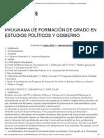 Programa de Formación de Grado en Estudios Políticos y Gobierno